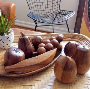 Wood Fruit and Tray Set